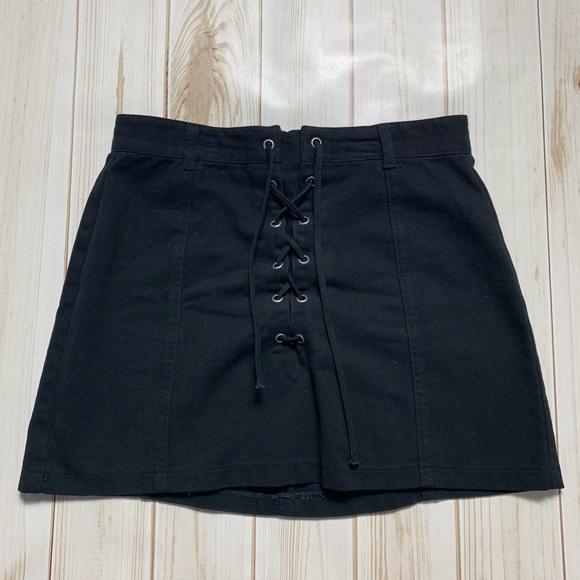 Fashion Nova Dresses & Skirts - Black Tie Up & Zipper Mini Skirt